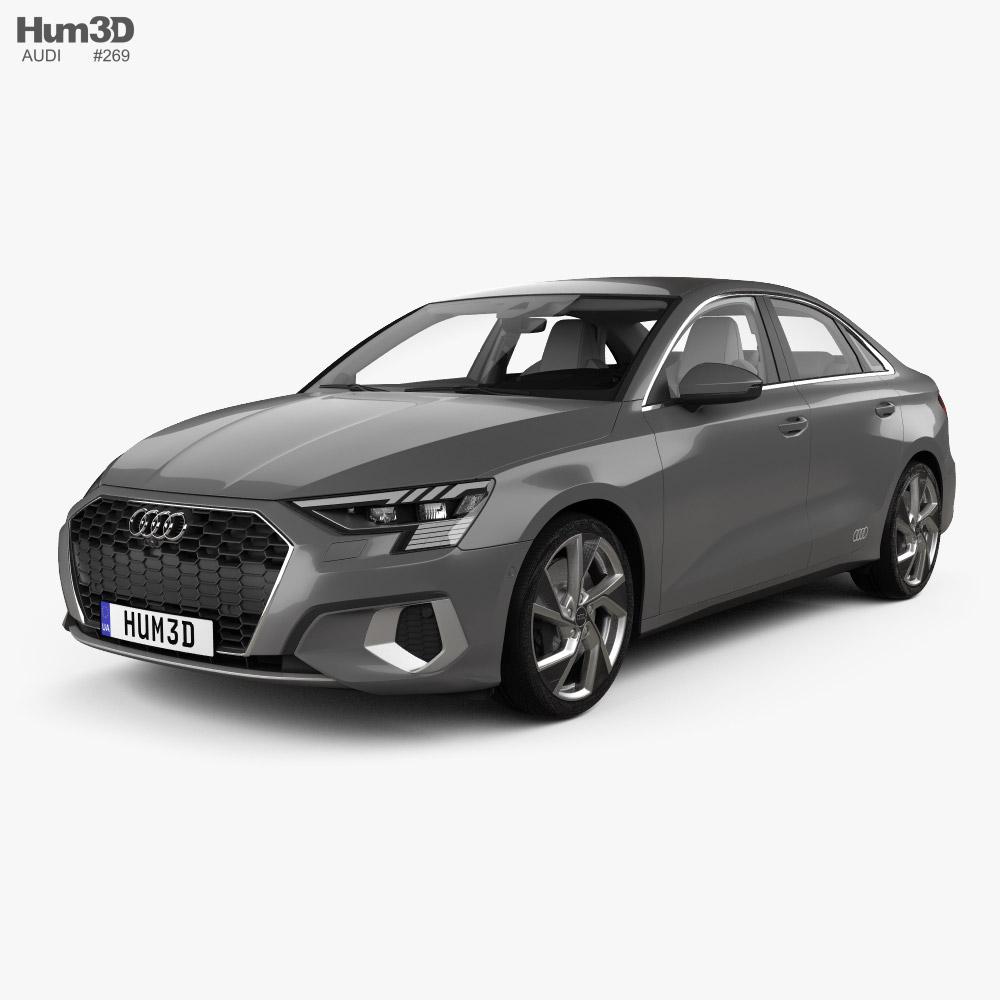 Audi A3 sedan with HQ interior 2020 3D model