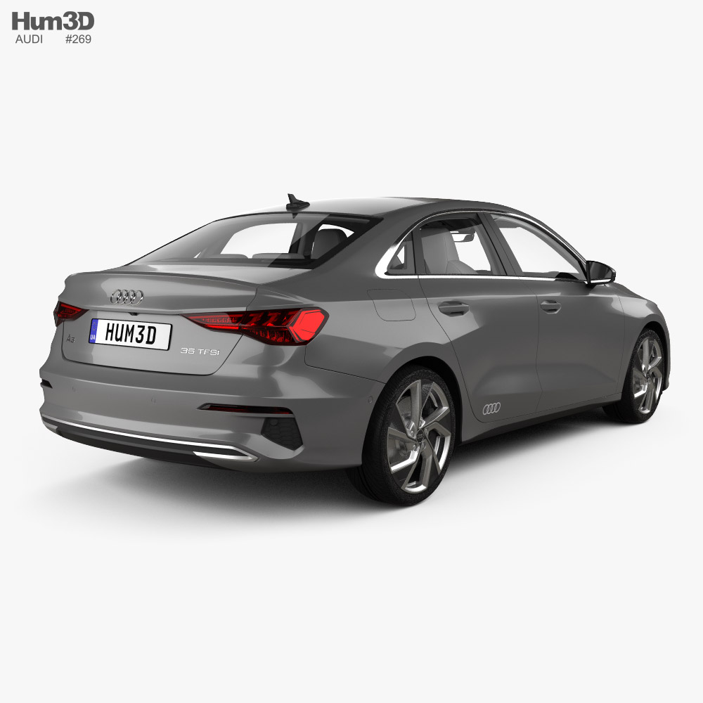 Audi A3 sedan with HQ interior 2020 3d model back view