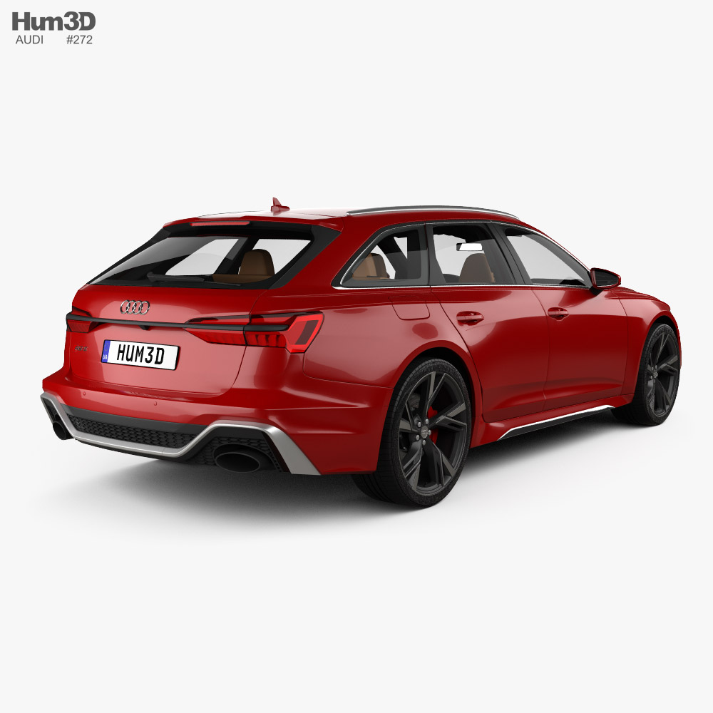 Audi RS6 avant with HQ interior and engine 2019 3d model