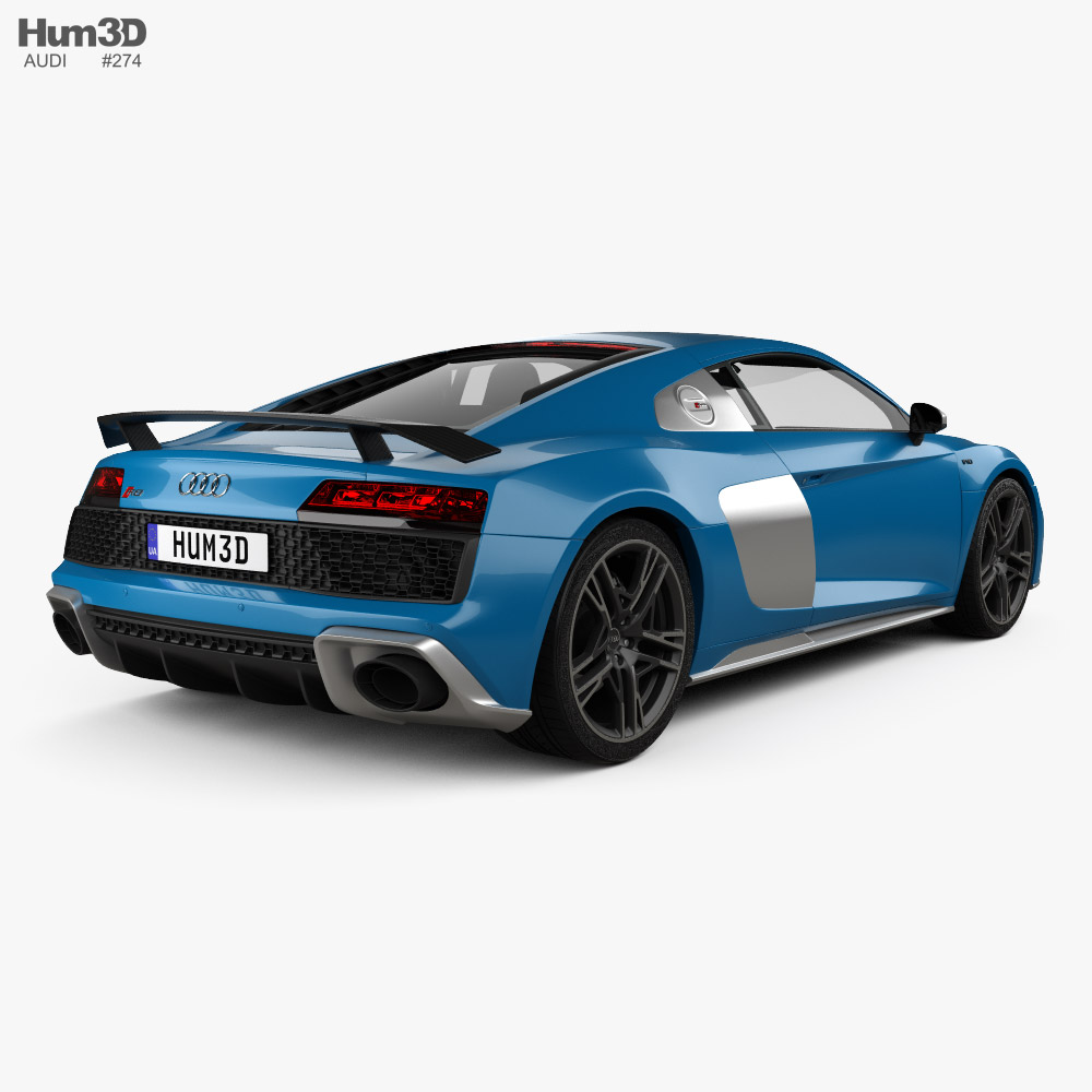 Audi R8 V10 coupe with HQ interior 2019 3d model back view