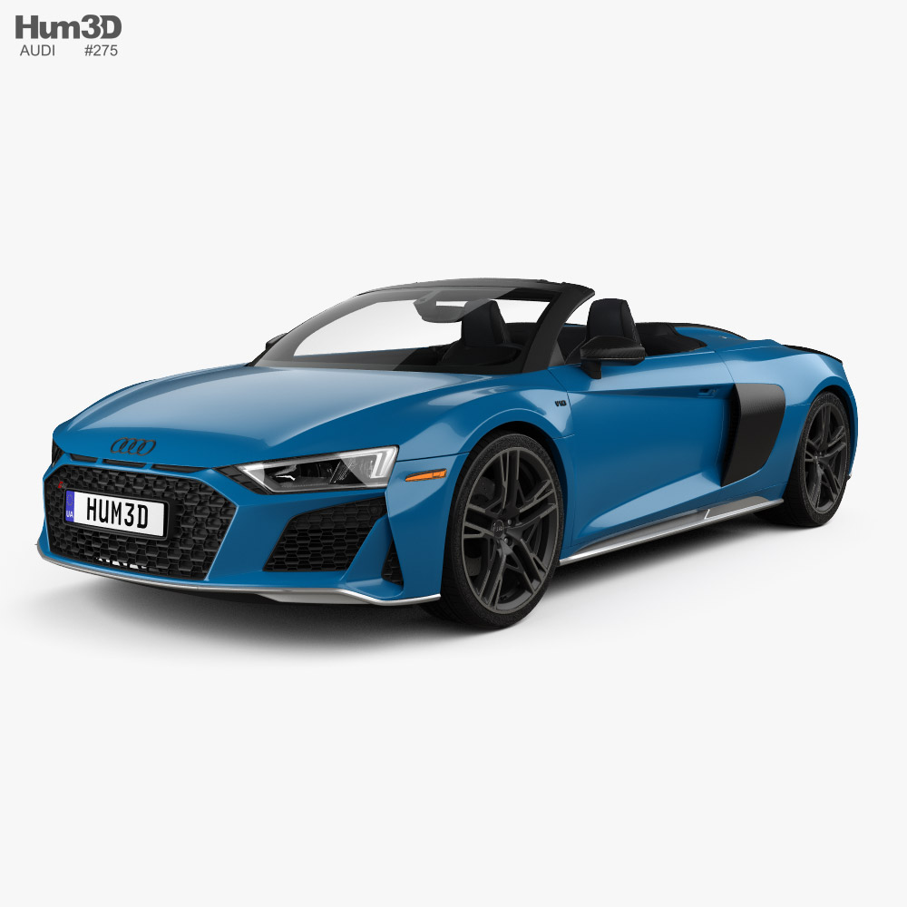 Audi R8 V10 US-spec spyder with HQ interior 2019 3D model
