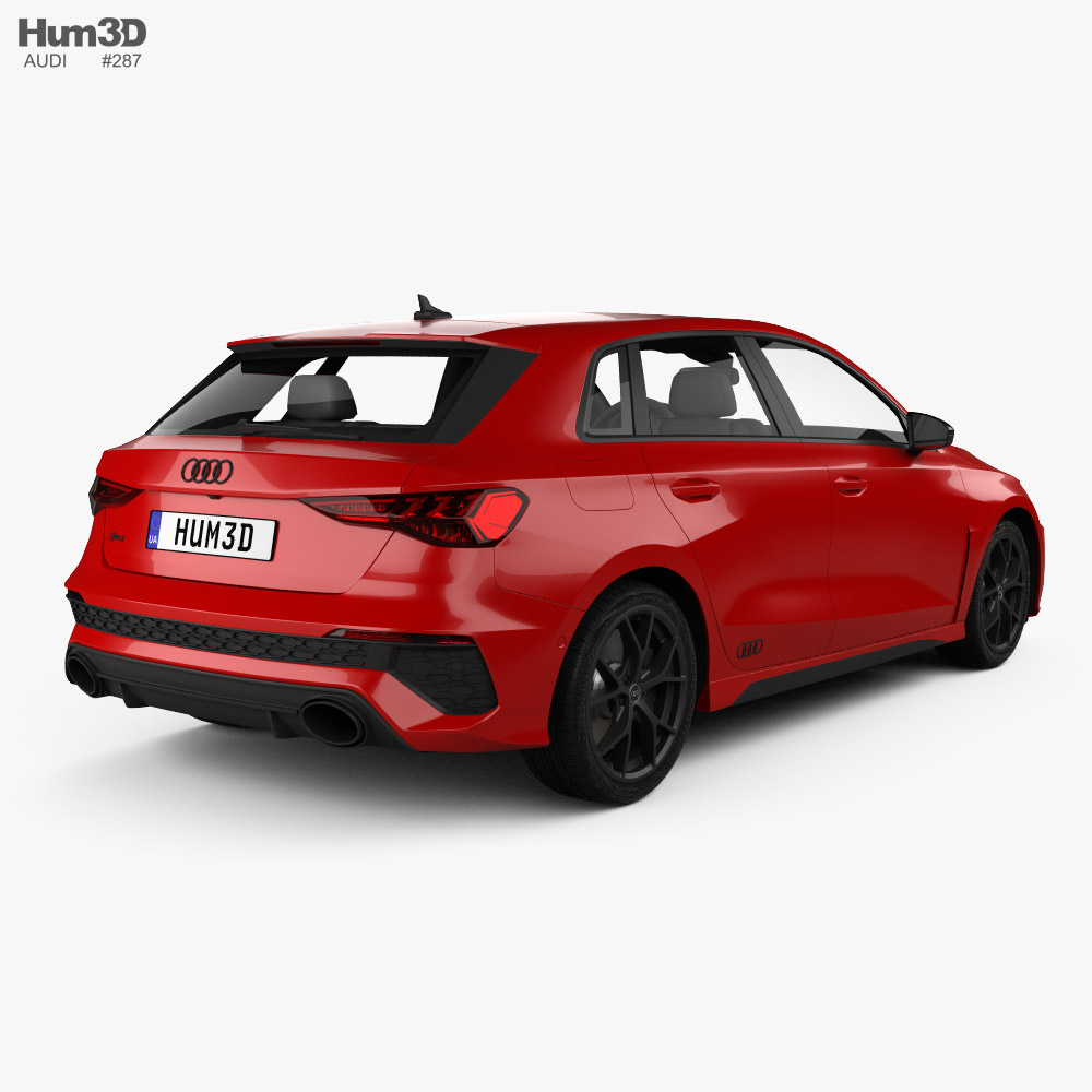 Audi RS3 sportback 2021 3d model back view