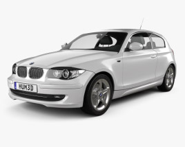 3D model of BMW 1 Series 3-door 2009