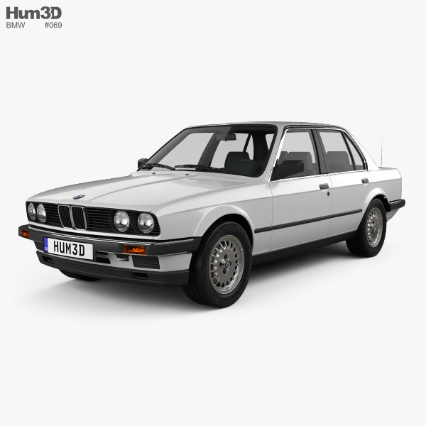 3D model of BMW 3 Series sedan (E30) 1990