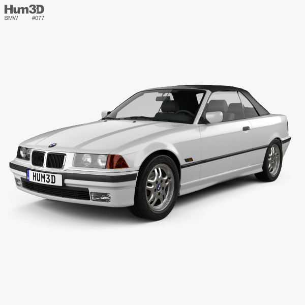 3D model of BMW 3 Series (E36) convertible 1994