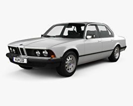 3D model of BMW 7 Series (E23) with HQ interior 1982