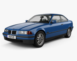 3D model of BMW 3 Series coupe with HQ interior 1993