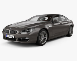 3D model of BMW 6 Series Gran Coupe with HQ interior 2012