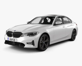 3D model of BMW 3 Series Sport Line sedan with HQ interior 2019