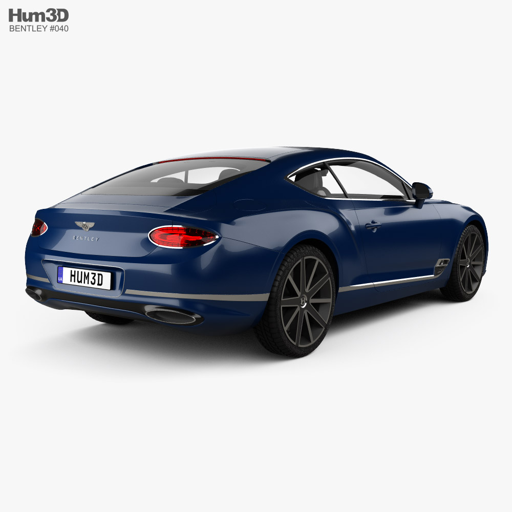 Bentley Continental GT with HQ interior 2018 3d model back view