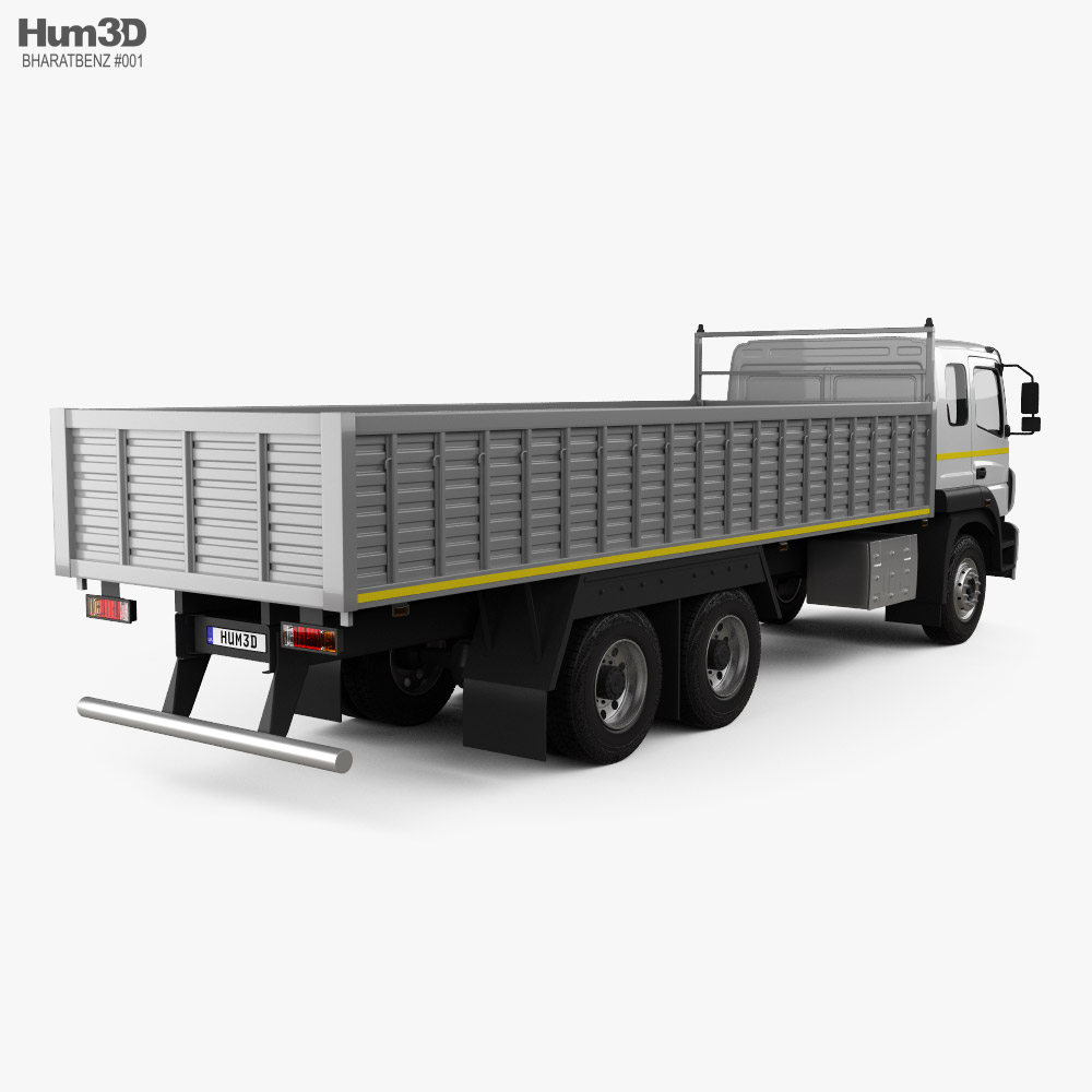 BharatBenz 2823r Flatbed Truck 2019 3d model back view