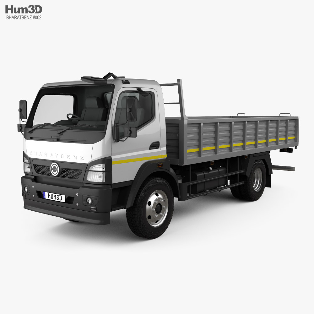 3D model of BharatBenz MDT 1015R Flatbed Truck 2019