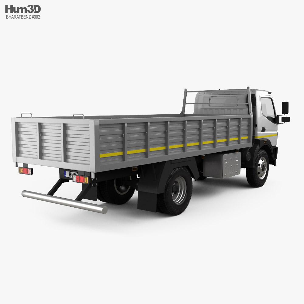 BharatBenz MDT 1015R Flatbed Truck 2019 3d model back view