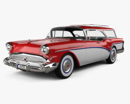 3D model of Buick Century Caballero wagon 1957