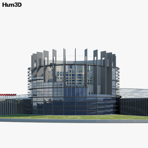 Seat of the European Parliament in Strasbourg 3D model