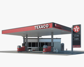 Texaco gas station 01 3D model