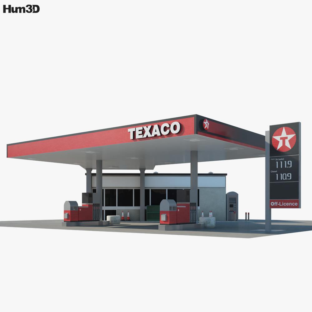 Texaco gas station 01 3D model
