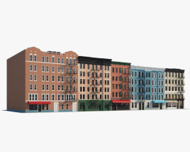 Brick buildings 3D model