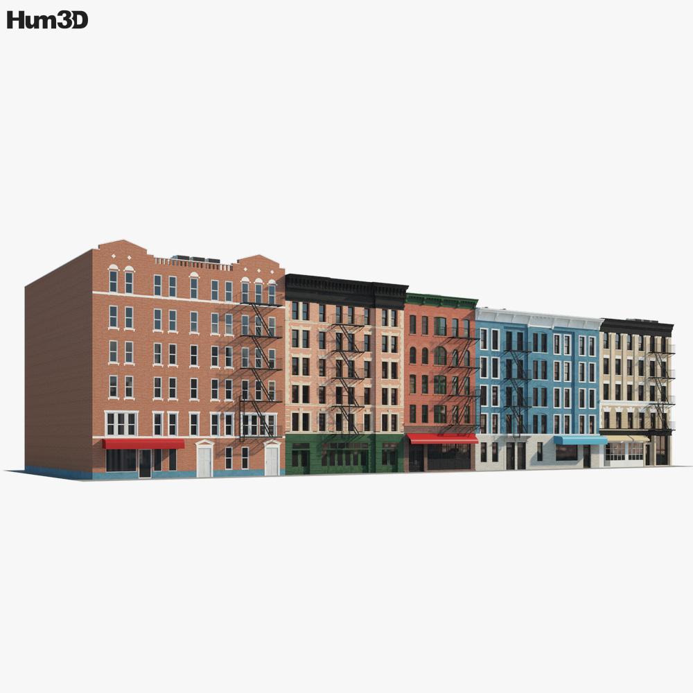 Brick buildings 3D model