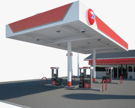 76 gas station 001 3D model