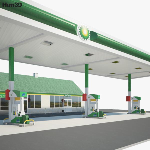 BP gas station 001 3D model