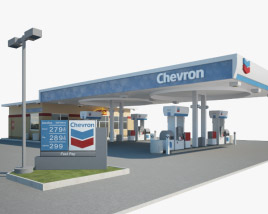3D model of Chevron gas station 001