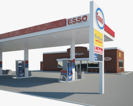 ESSO gas station 001 3D model