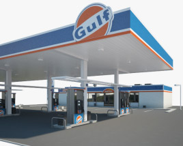 3D model of Gulf gas station 001