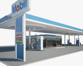 Mobil gas station 001 3D model