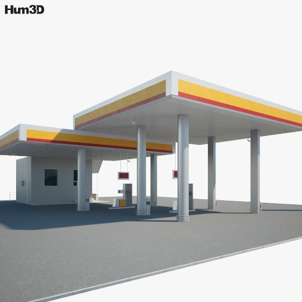 Shell gas station 001 3D model