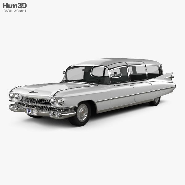 3D model of Cadillac Fleetwood 75 Miller-Meteor Hearse 1959