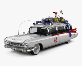 3D model of Cadillac Fleetwood 75 Ghostbusters Ectomobile with HQ interior and engine 1987