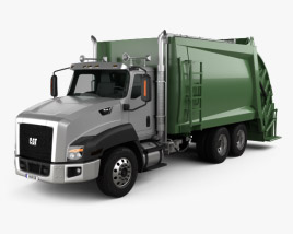 3D model of Caterpillar CT660 Rolloffcon Garbage Truck 2011