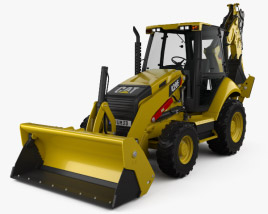 3D model of Caterpillar 420F Backhoe Loader 2014
