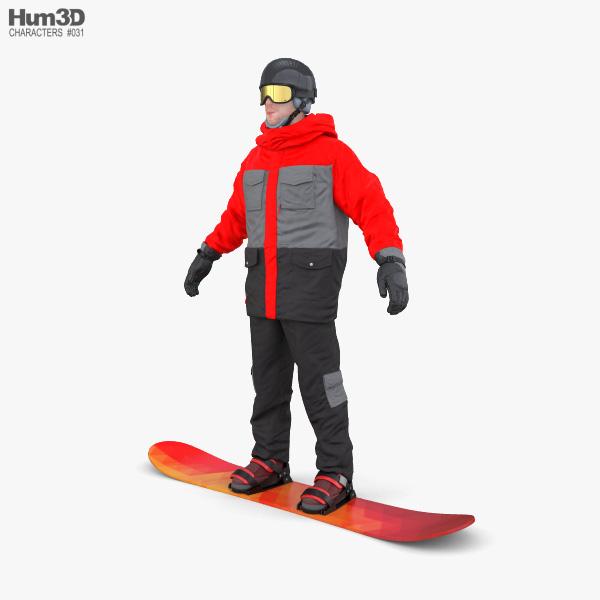 Snowboard Man 3D model