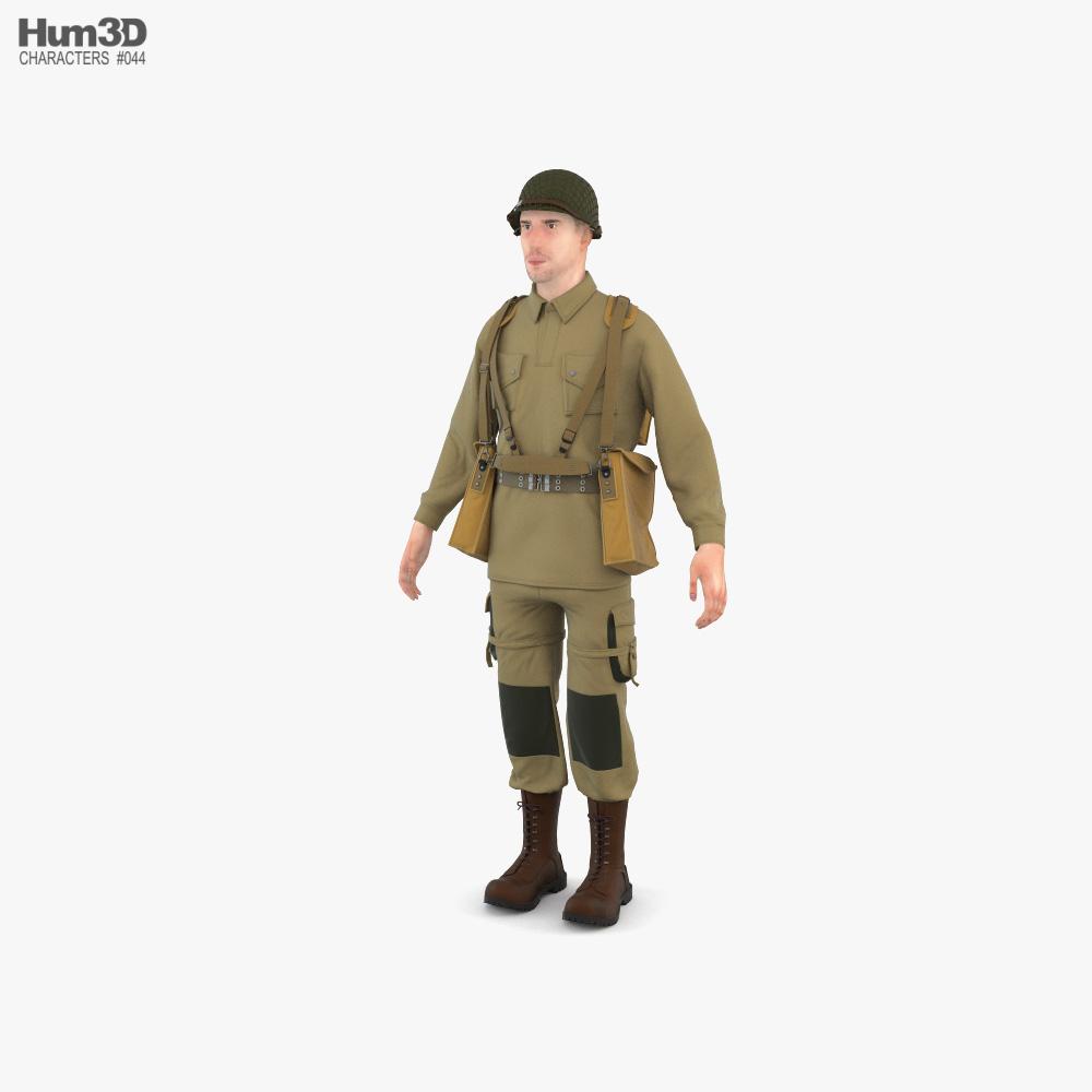 WW2 US Soldier 3D model