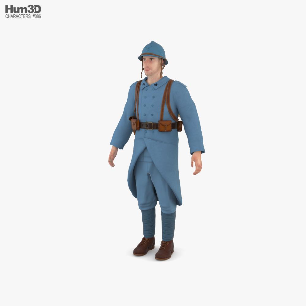 Soldier WWI France 3D model