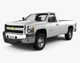 3D model of Chevrolet Silverado HD Regular Cab Long Bed 2011