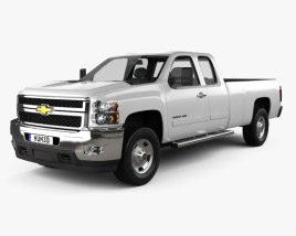 3D model of Chevrolet Silverado HD Extended Cab Long Bed 2011