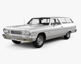 3D model of Chevrolet Chevelle (Malibu) 2-door wagon 1964