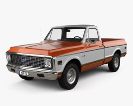 3D model of Chevrolet C10 Cheyenne Pickup 1971