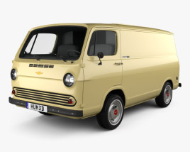 3D model of Chevrolet G10 Chevy Van 1964