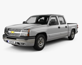3D model of Chevrolet Silverado 1500 Crew Cab Short Bed with HQ interior 2002