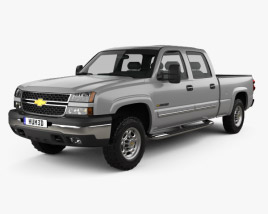 3D model of Chevrolet Silverado 2500 Crew Cab Long Bed 2002