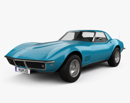 3D model of Chevrolet Corvette (C3) Convertible 1968