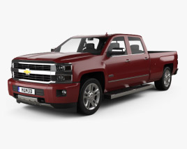 3D model of Chevrolet Silverado 2500HD Crew Cab Long Box High Country 2017