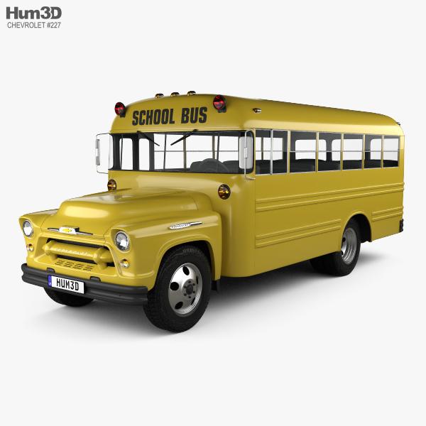 3D model of Chevrolet 4500 School Bus 1956