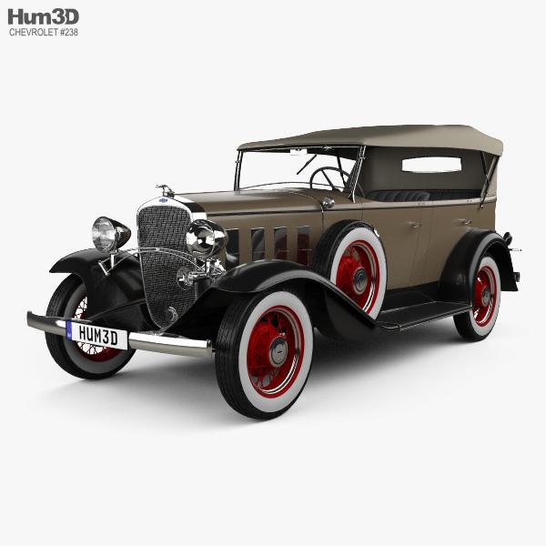 3D model of Chevrolet Confederate 4-door Phaeton 1932