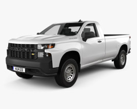3D model of Chevrolet Silverado Regular Cab WT 2018