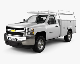 3D model of Chevrolet Silverado 2500HD Work Truck with HQ interior 2011